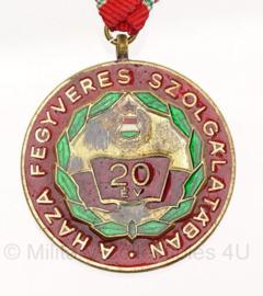 Hongaarse medaille  20 Years Exemplary Military Service  - origineel - metaal