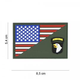 US 101st Airborne halve vlag embleem 3D PVC - met klittenband - 5,4 x 8,5 cm