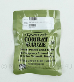 QuikClot Combat Gauze hemostatisch Z fold - t.h.t. 1-2021 - 365 x 7,62 cm - origineel