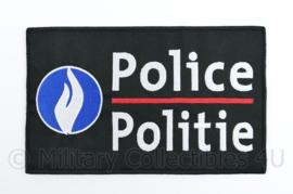 """Belgische Police Politie embleem rugstrook """"Police Politie""""- Zwart - met klittenband - 24,5 x 15 cm"""
