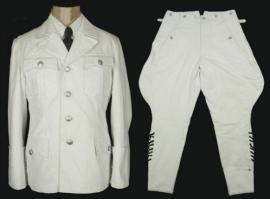 Uitgaans uniform set - jas & pofbroek - wit - replica WO2 Duits