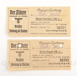 WO2 Document Duitse quittungs paar van Zeitung Der Fuhrer - 1940 - origineel