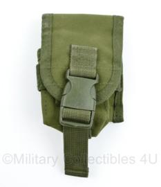 Defensie of US Army groene MOLLE handgranaat handgrenade pouch - 11 x 8 x 4 cm - gebruikt - origineel