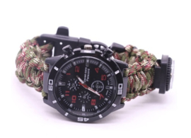 Survival 8 in 1 !Horloge met paracord armband - Woodland