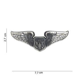 US Airforce Pilot wing metaal - 7,7 x 2,7 cm.