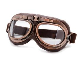 Piloten bril of brommer bril - Vintage Copper look met heldere glazen