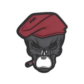 Flesopener met 3D PVC grip - Skull met sigaar
