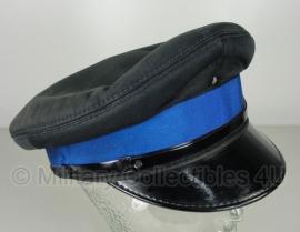 Politie platte pet - zonder insigne  - Zwart met blauwe band (is te verwijderen) - maat 56 of 57 cm - origineel