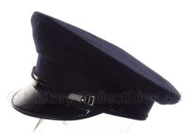 Politie platte pet - zonder insigne  -  Donkerblauw, grof wol lichtblauwe voering - maat 59 - origineel