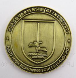 KL Landmacht GE/NL Nederlands Duitse Korps coin - NATO response force 2015 - Noble Ledger 15/27 sept 2014 - nieuw in de verpakking - origineel