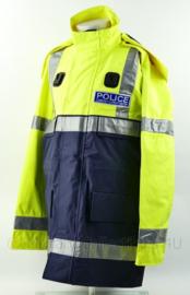 Britse Politie parka met reflecterende strepen - Police Community Support Officer - fluorgeel/blauw - NIEUW in verpakking - maat large - origineel