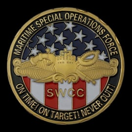 US Navy Maritime Special Operations Force SWCC coin - On time! On target! Never quit! - 40 mm diameter