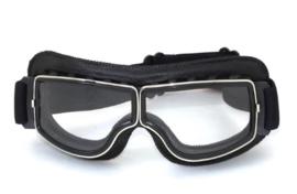 Brommer bril - Zwart leder met heldere glazen