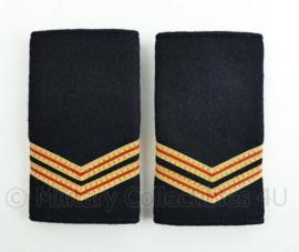 Nederlandse Brandweer epauletten zwart wollig - rang brandwacht - paar - origineel