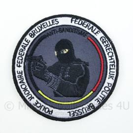 Belgische Politie Federale Gerechtelijke Politie Brussel Anti-Banditisme embleem - met klittenband - diameter 9 cm