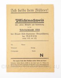 WO2 Duits Pflichtnachweis - 1934 - Origineel