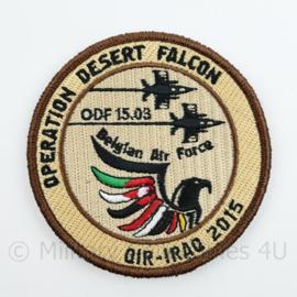 BAF Belgian Air Force Operation Desert Falcon ODF 15.03 OIR-Iraq 2015 embleem  met klittenband- 9 cm. diameter