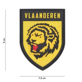 Embleem 3D PVC met klittenband - Vlaanderen Lion yellow - 9 x 7,5 cm.