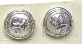 Zilveren kleine knopen met onderplaatje voor schouderstukken Marine - prijs per paar - doorsnede 1,5 cm - origineel