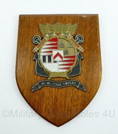 Koninklijke Marine wandbord - Hr. Ms. Isaac Sweers - afmeting 19 x 14 x 1 cm - origineel