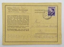 WO2 Duitse postkarte 1943 - Pol. Gefangnis Theresienstadt - afmeting 15 x 10 cm - origineel