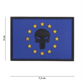 Embleem 3D PVC met klittenband - Punisher EU - blauw  -7,3 x 5 cm.