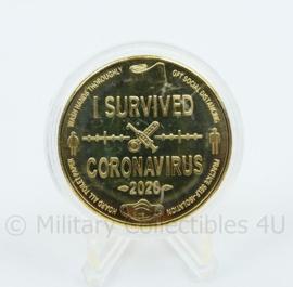 I survived Coronavirus 2020 coin  - 40 mm diameter