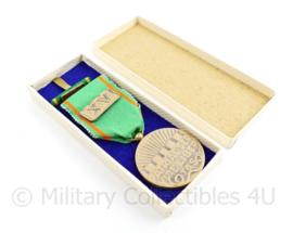 Nederlandse vrijwilligers medaille 1958 met baton Openbare Orde en veiligheid in origineel doosje - origineel