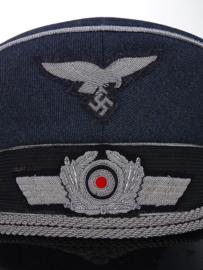 Luftwaffe schirmmütze zilveren bies - officieren graublau - 57 of 60 cm.