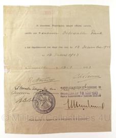 WO2 Belgisch document - 1942 en 1943 - origineel - set van 2