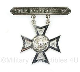 Zeldzame USMC US Marine Corps Rifle Sharpshooter badge USMC - met serial number en zilver stempel - 5 x 5 cm - origineel