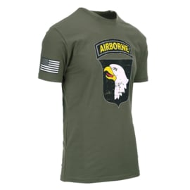 T-shirt 101st Airborne Division deluxe  - Groen - maat Small t/m XXL