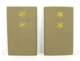 KL Landmacht bruine officiers epauletten Stratotex met rang Eerste Luitenant - afmeting 5 x 8,5 cm - origineel