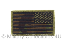 US Army American Flag met klittenband - black thread, reversed, non regulation - multicamo background
