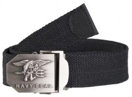 US Navy Seals broekriem zwart met zilveren metalen slot