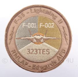 "KLu Koninklijke Luchtmacht RNLAF-Edwards AFB embleem ""F-35 Lightning II"" - met klittenband - diameter 10 cm"