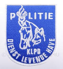 """KLPD Koninklijke Landelijke Politie Dienst """"Dienst Levende Have"""" embleem - afmeting 7 x 9 cm"""