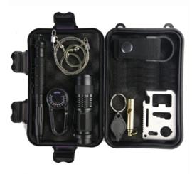 10 delige Survival kit met inhoud - variant 2 - BLACK