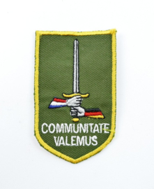 Defensie DT2000 mouw embleem Duits Nederlands Corps Communitate Valemus - 8 x 5 cm - origineel