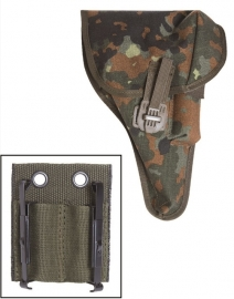 BW Bundeswehr holster P1(P38) Flecktarn MET universele koppel adapter met ALICE clips - origineel