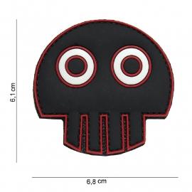 Embleem 3D PVC - met klittenband - Big Eye Skull - 6,8 x 6,1 cm