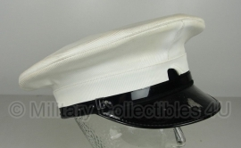 Politie platte pet - zonder insigne -  wit - 53 t/m 60 cm - origineel