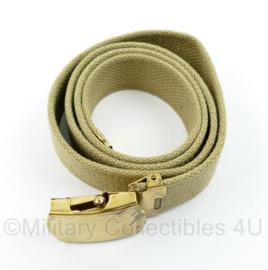 Wo2 US Officer broekriem khaki  met goudkleurig slot - 100 x 3,5 cm - origineel