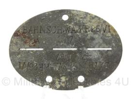 WO2 Duitse erkennungsmarke - Bahnschutz Wachkompanie 26 VI - persoonsnummer 147 - origineel