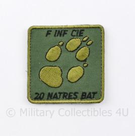 KL Nederlandse leger F INF CIE 20 NATRES BAT borstembleem - met klittenband - 5 x 5 cm - origineel