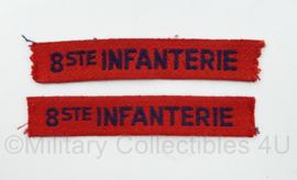 MVO straatnaam paar 8e Regiment Infanterie - 11 x 2 cm - origineel