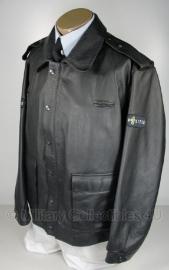 Nederlandse Politie zwarte leren jas - maat 52 - licht gedragen - origineel