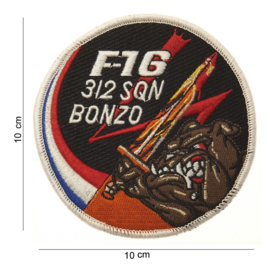 Embleem stof F16 316 Sqn Bonzo -  10 cm. rond
