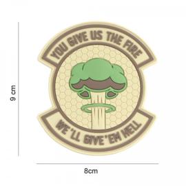 Embleem You give us the fire,  we'll give 'em hell - groen - met klittenband - 3D PVC - 9 x 8 cm