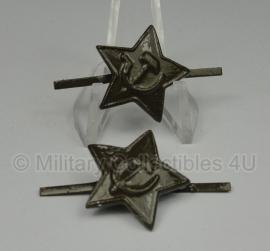 Russische metalen groene ster voor pet of schuitje - origineel